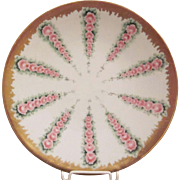 Jean Pouyat Limoges France Plate with Rows of Pink Roses
