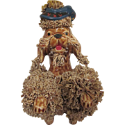 Brown Ceramic Spaghetti Poodle Sitting Up with a Scottish Hat Figure