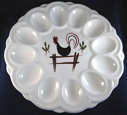 Ceramic Devil's Egg Dish with a Chicken Design