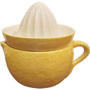 Goebel W. Germany 2 Piece Pottery Yellow Lemon Reamer Juicer