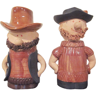 Made in Japan Large Holt Howard Ceramic Cowboy Salt and Pepper Shakers