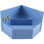 "Ideal 3/4"" Hard Plastic Corner Tub with Wall Piece Dollhouse Furniture"