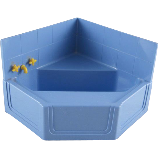 Ideal 3 4 Hard Plastic Corner Tub With Wall Piece Dollhouse Furniture From Milkweedantiques On