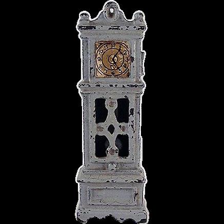"Kilgore 1/2"" Cast Iron Grandfather Clock Dollhouse Furniture"