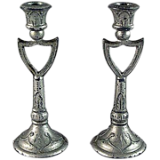 Pair Soft Metal Candlesticks 'Shield' Design Dollhouse Accessories