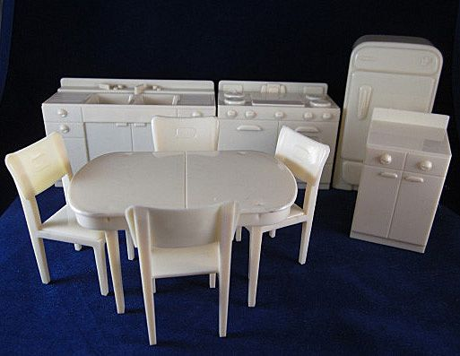 Marx 3 4 Hard Plastic Kitchen 9 Pieces Complete Dollhouse Furniture From Milkweedantiques On