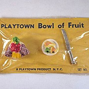 HOLD Playtown Bowl of Fruit on Original Card Dollhouse Accessories
