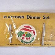 HOLD Playtown Dinner Set on Original Card Dollhouse Accessories