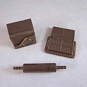 "Marx Hard Plastic 1/2"" Waffler, Rolling Pin, and Radio Dollhouse Accessories"