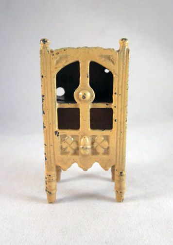 "HOLD Kilgore 1/2"" Pale Yellow Cast Iron China Cabinet Dollhouse Furniture"