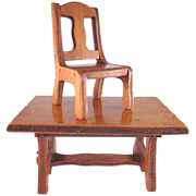 "Wanner, Grand Rapids 1-1/2"" Trestle Table and 1 Dining Room Chair Dollhouse Furniture"