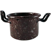 Miniature Graniteware Chocolate Brown with White & Black Mottling Open Kettle Dollhouse Accessory