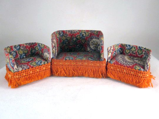 "HOLD Upholstered 3 Piece 1/2"" Living Room Set Dollhouse Furniture"