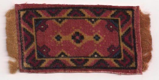Rose Tobacco Flannel Dollhouse Rug Accessory