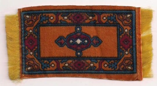 Dark Orange Tobacco Flannel Dollhouse Rug Accessory