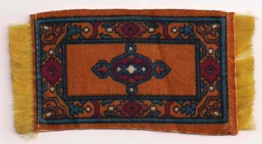 Dark Orange Tobacco Flannel Dollhouse Rug Accessory