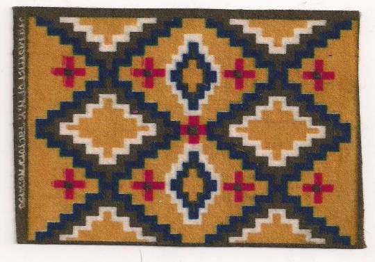 American Indian Zig Zag Design Tobacco Flannel Dollhouse Rug Accessory