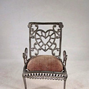 """Adrian Cooke 3/4"""" Soft Metal Chair with Heart Design Dollhouse Furniture"""