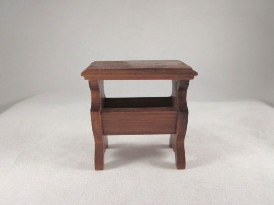 "Strombecker 1"" Walnut Magazine Table from the Bedroom Dollhouse Furniture"