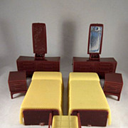 """Marx Imagination 1/2"""" Yellow Bedroom 7 Pieces Dollhouse Furniture MCM"""