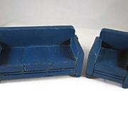 """Strombecker 3/4"""" Dark Blue Sofa & Club Chair Dollhouse Furniture"""