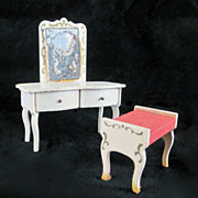 "Lundby 2/3"" 1960s Rococo Vanity & Bench Dollhouse Furniture"