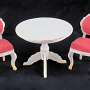 "Lundby  2/3"" 1960s Rococo Salon Table & 2 Chairs Dollhouse Furniture"