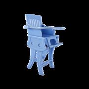 """Ideal 3/4"""" Convertible High Chair Blue Dollhouse Furniture"""