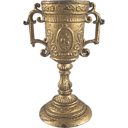 Ornate Pot Metal Gilt Loving Cup or Floor Vase Dollhouse Accessory