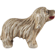 Hard Plastic Shaggy Dog Miniature for a Dollhouse Pet