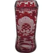 Cranberry Bohemian Glass Miniature Vase with a Stag Dollhouse Accessory