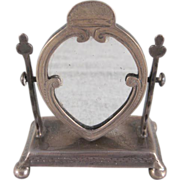 Silver Vanity Mirror Stand Miniature Dollhouse Accessory