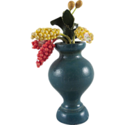 """Wooden 1"""" Scale Vase with Beaded Hyacinth Flowers Dollhouse Miniature Accessory"""