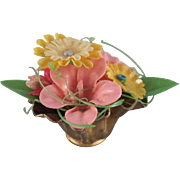 Bouquet of Flowers in a Gold Bowl Dollhouse Accessory