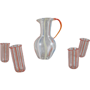 Made in Germany  Striped Glass Pitcher and 4 Tumblers Dollhouse Accessory Miniatures