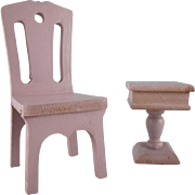 "Strombecker 1"" 1931 Bedroom Chair and Pedestal Night Stand Dollhouse Furniture"