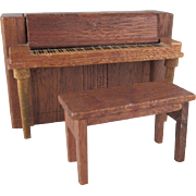 """Strombecker 3/4"""" Upright Piano and  Bench Dollhouse Furniture"""