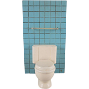 """Strombecker 3/4"""" Toilet with Tiled Wall  Dollhouse Furniture"""