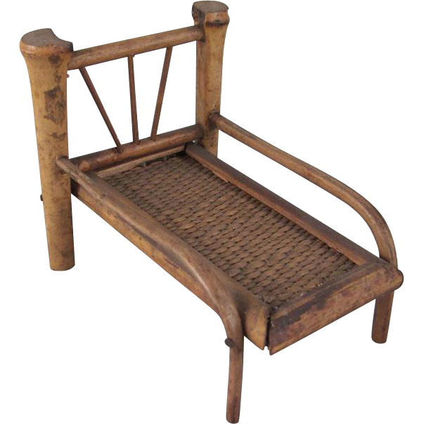 Made in japan early 3 4 bamboo chaise lounge dollhouse for Chaise lounge chicago