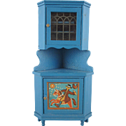 "Lundby 3/4"" Blue Leksand Corner Cabinet Dollhouse Furniture"
