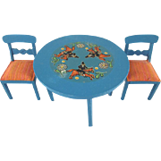 "Lundby 3/4"" Blue Leksand Table and 2 Chairs Dollhouse Furniture"