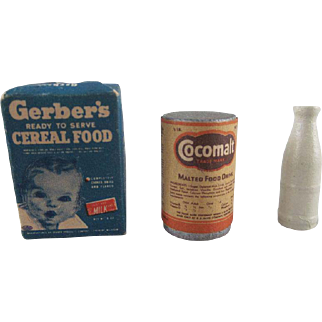 Vintage Food Products Wooden with Labels Gerber's and Cocomalt with a Wooden Milk Bottle Dollhouse Accessories