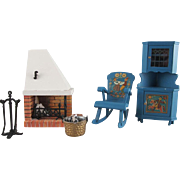 "Lundby 3/4"" Corner Fireplace, Blue Leksand Corner Cabinet and Rocker, Fireplace Tools, and Pail with Wood Dollhouse Furniture Set 1970s"