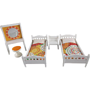 """Lundby 3/4"""" Nocturn 5 Piece Bedroom 1970s Dollhouse Furniture"""