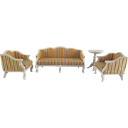"Lundby 3/4"" Royal Couch & 2 Chairs and Side Table 1970s Dollhouse Furniture"