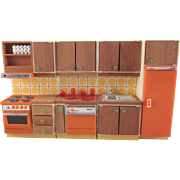 "Lundby 3/4"" Continental II Kitchen 4 Pieces Plus Dishes Dollhouse Furniture"