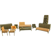 "Marx Imagination 1/2"" Olive Green and Peach 10 Piece Living Room Dollhouse Furniture"
