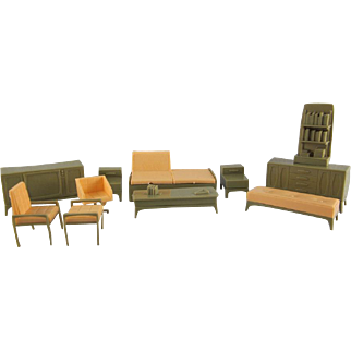"""Marx Imagination 1/2"""" Olive Green and Peach 10 Piece Living Room Dollhouse Furniture"""