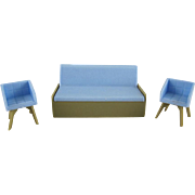 """Marx Imagination 1/2"""" Olive Green and Light Blue 3 Piece Living Room Group of Dollhouse Furniture"""