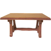 "Wanner, Grand Rapids 1-1/2"" Dining Room Trestle Table Dollhouse Furniture"